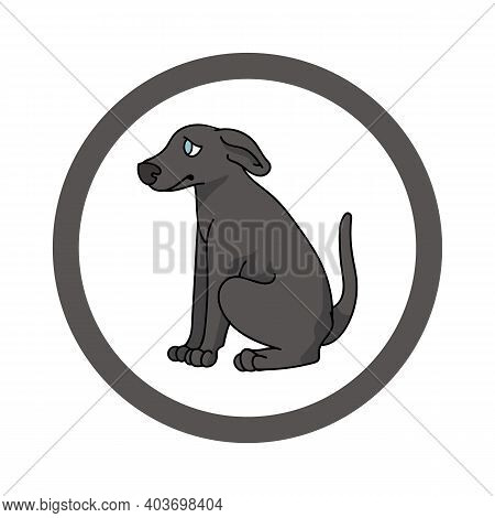 Cute Cartoon Greyhound In Circle Puppy Vector Clipart. Pedigree Kennel Doggie Breed For Kennel Club.
