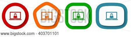 Help, Call Service, Support Vector Icon Set, Flat Design Buttons On White Background