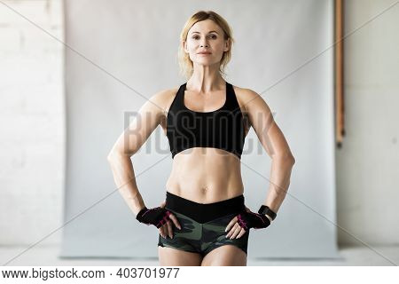 Positive Sportswoman, Fit Sporty Active Athlete Streaming Online Workout Exercise. Confident Attract