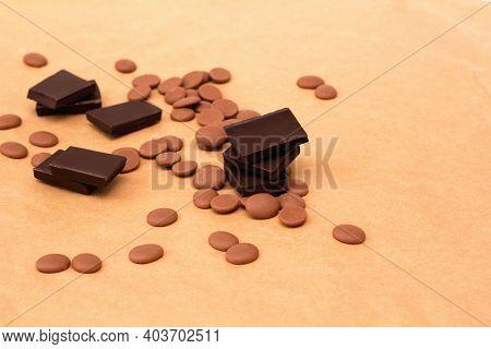 Making Dark Chocolate From Drops. Tasty Candy Dessert. Chocolatier Sweet Shop Business Concept