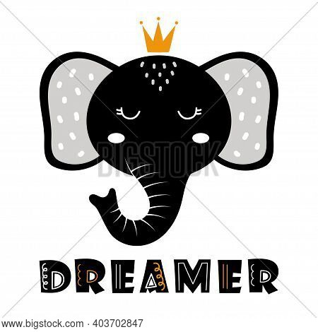 Cute Catoon Elephant And Text On White Background, Beautiful Face Of Animal, Vector Elephant Illustr