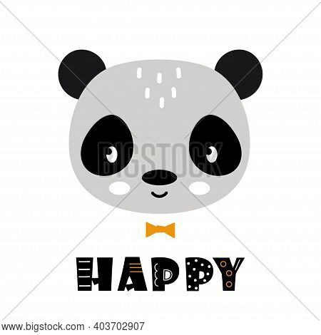 Cute Panda Face Vector Illustration, Panda Face And Text Happy Isolated On White Background, Scandin