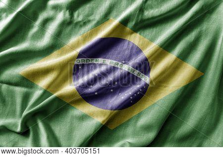 Waving Detailed National Country Flag Of Brasil