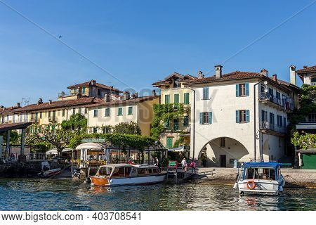 Isola Superiore, Italy - May 10 2015 - Small Boats Are Used By Locals And Tourists To Get To The Isl