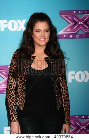 LOS ANGELES - DEC 17:  Khloe Kardashian Odom at the 'X Factor' Season Finale Press Conference at CBS Television City on December 17, 2012 in Los Angeles, CA