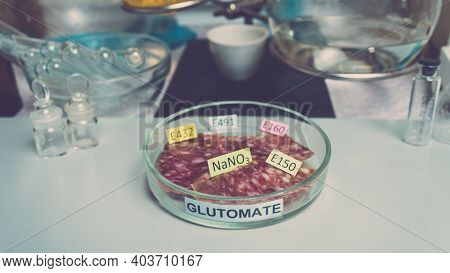Photo Food Additives In Sausages. Flavor Enhancers And Nitrates. Unhealthy Food Concept.