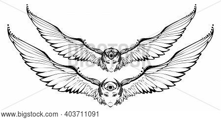 Black And White Bird, Woman Face, And Big Wings Tattoo. Sketch For Print T Shirt And Tatoo Art. Alch