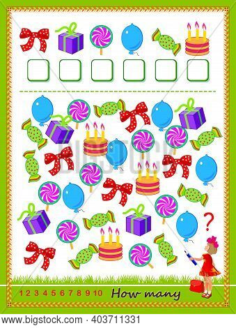 Mathematical Education For Children. Count Quantity Of Objects And Write Numbers. Developing Countin