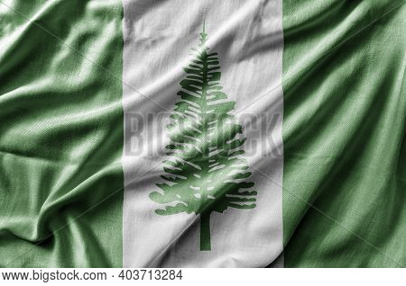 Waving Detailed National Country Flag Of Norfolk Island