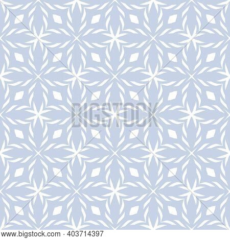Vector Geometric Seamless Pattern. Light Blue And White Ornament Texture With Crosses, Diamonds, Flo