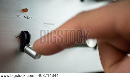 Toggle Switch To Position On And Off. Closeup. Shallow Depth Of Field