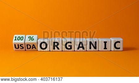 100 Percent Organic Symbol. Fliped Wooden Cubes And Changed Words Usda Organic To 100 Percent Organi