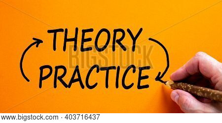 Theory And Practice Cycle Symbol. Hand Writing 'theory And Practice Cycle', Isolated On Beautiful Or