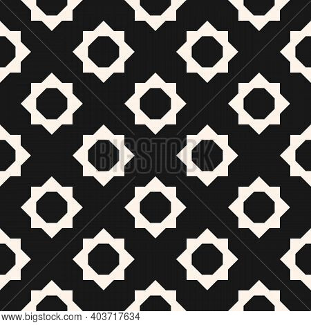 Abstract Geometric Floral Seamless Pattern. Vector Black And White Background. Simple Geometric Orna