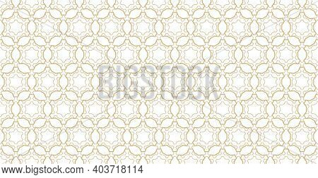 Abstract Geometric Seamless Pattern. Golden Lines Texture, Subtle Elegant Lattice, Mesh, Weave, Hexa