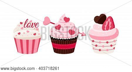 Valentines Day Cupcakes Icon Set - Cute Sweets Food. Party Homemade Muffin With Heart, Text Love, Ar