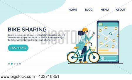 Bike Sharing. Electric Bicycle Rental Website Landing Page, Template Concept. Rental Urban Transport
