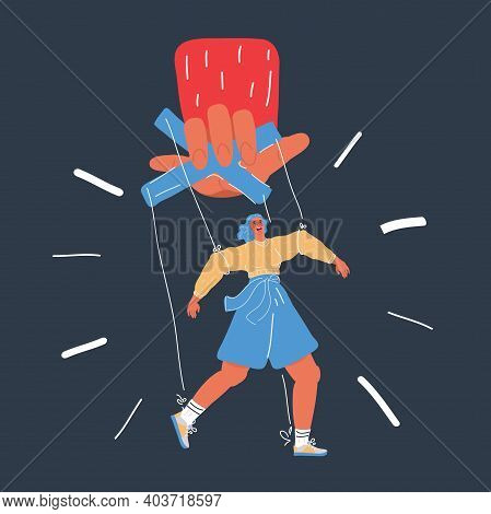 Vector Illustration Of Big Hand Of Boss Hold Small Woman. Metaphor Of Woman Under The Power Of The M