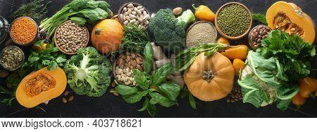 A Rich Assortment Of Seasonal Autumn Vegetables, Cereals And Nuts: Broccoli, Cauliflower, Pumpkin, S