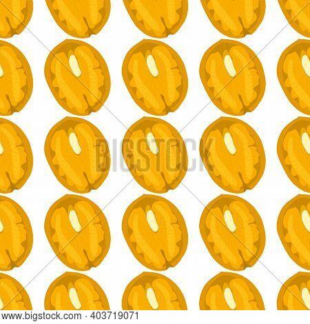 Illustration On Theme Big Pattern Identical Types Walnut, Nut Equal Size. Walnut Pattern Consisting