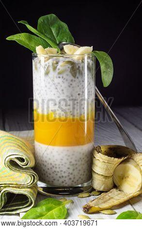 Healthy Breakfast, Pumpkin, Spinach And Banana Chia Pudding
