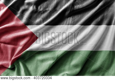 Waving Detailed National Country Flag Of Palestine