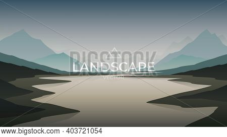 Lake At Nature Sunset With Mountains Landscape. Nature Background. Vector