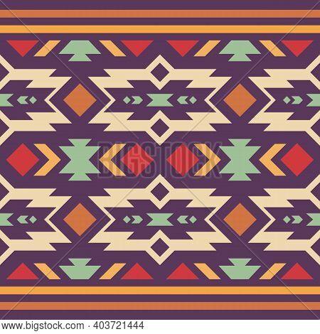 Native American Southwest, Aztec, Navajo Seamless Pattern. Tribal Geometric Print. Ethnic Design Wal