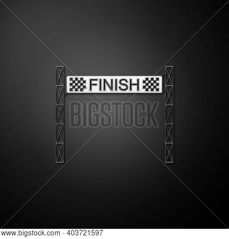 Silver Ribbon In Finishing Line Icon Isolated On Black Background. Symbol Of Finish Line. Sport Symb