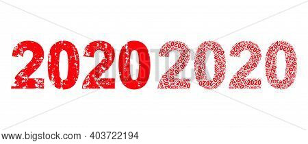 Vector 2020 Year Digits Fractal Is Formed From Random Fractal 2020 Year Digits Elements. Scratched 2