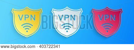 Paper Cut Shield With Vpn And Wifi Wireless Internet Network Icon Isolated On Blue Background. Vpn P