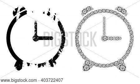 Vector Alarm Clock Mosaic Is Formed From Repeating Itself Alarm Clock Items. Grunge Alarm Clock Icon