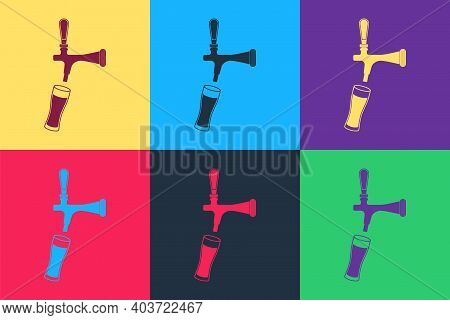 Pop Art Beer Tap With Glass Icon Isolated On Color Background. Vector