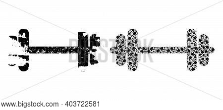 Vector Barbell Fractal Is Done Of Scattered Fractal Barbell Pictograms. Distress Barbell Icon. Recur