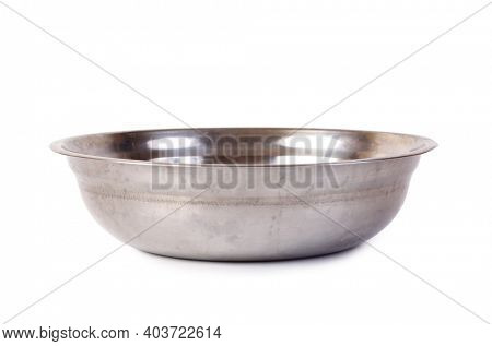 Large metal plate. Isolated object on white background