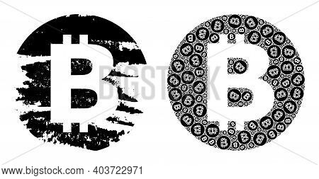 Vector Bitcoin Fractal Is Composed From Scattered Fractal Bitcoin Elements. Rough Bitcoin Icon. Recu