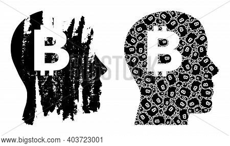 Vector Bitcoin Imagination Collage Is Done Of Repeating Recursive Bitcoin Imagination Elements. Dist