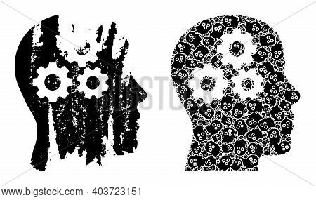Vector Brain Gears Mosaic Is Organized Of Random Recursive Brain Gears Parts. Scratched Brain Gears
