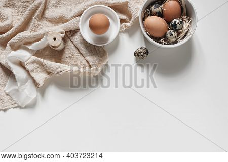 Easter Decorative Frame, Banner. Spring Still Life With Natural Quail And Hen Eggs, Ceramic Bowls An