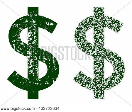 Vector Dollar Mosaic Is Done Of Repeating Fractal Dollar Icons. Textured Dollar Icon. Fractal Compos