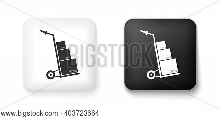Black And White Hand Truck And Boxes Icon Isolated On White Background. Dolly Symbol. Square Button.
