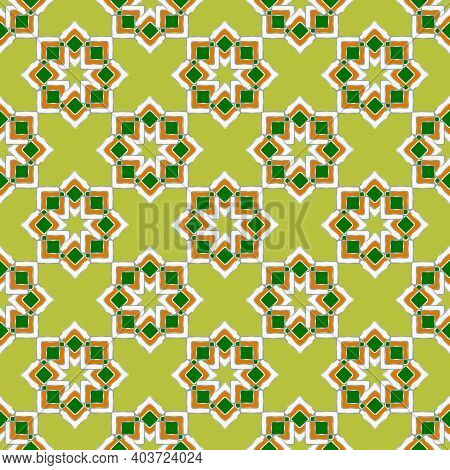 Beautiful Seamless Geometric Pattern In Oriental Style. Curly Stars From Rhombuses On A Lemon-yellow