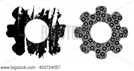 Vector Gear Wheel Fractal Is Done Of Randomized Fractal Gear Wheel Parts. Grunge Gear Wheel Icon. Fr