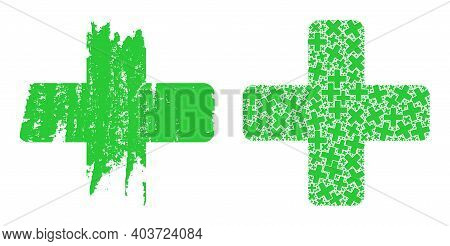 Vector Green Cross Collage Is Designed Of Randomized Recursive Green Cross Parts. Distress Green Cro