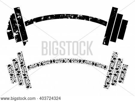 Vector Heavy Barbell Mosaic Is Done From Scattered Itself Heavy Barbell Parts. Distress Heavy Barbel