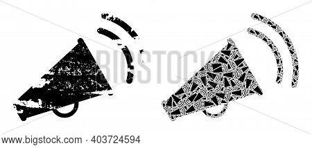 Vector Marketing Horn Fractal Is Done Of Random Fractal Marketing Horn Icons. Distress Marketing Hor