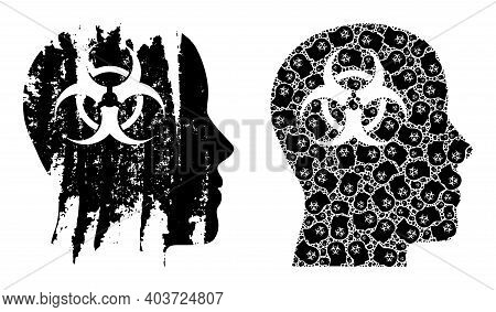 Vector Mental Virus Mosaic Is Done From Scattered Fractal Mental Virus Elements. Grunge Mental Virus