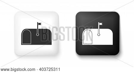 Black And White Mail Box Icon Isolated On White Background. Mailbox Icon. Mail Postbox On Pole With
