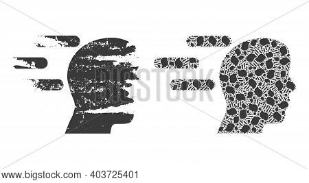 Vector Rush Mind Collage Is Constructed With Randomized Fractal Rush Mind Pictograms. Textured Rush