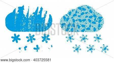 Vector Snow Weather Mosaic Is Made With Repeating Itself Snow Weather Elements. Rough Snow Weather I